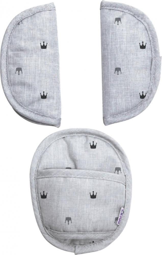 XPLORYS Комплект мягких накладок на ремни безопасности в автокресло Light Grey Crowns