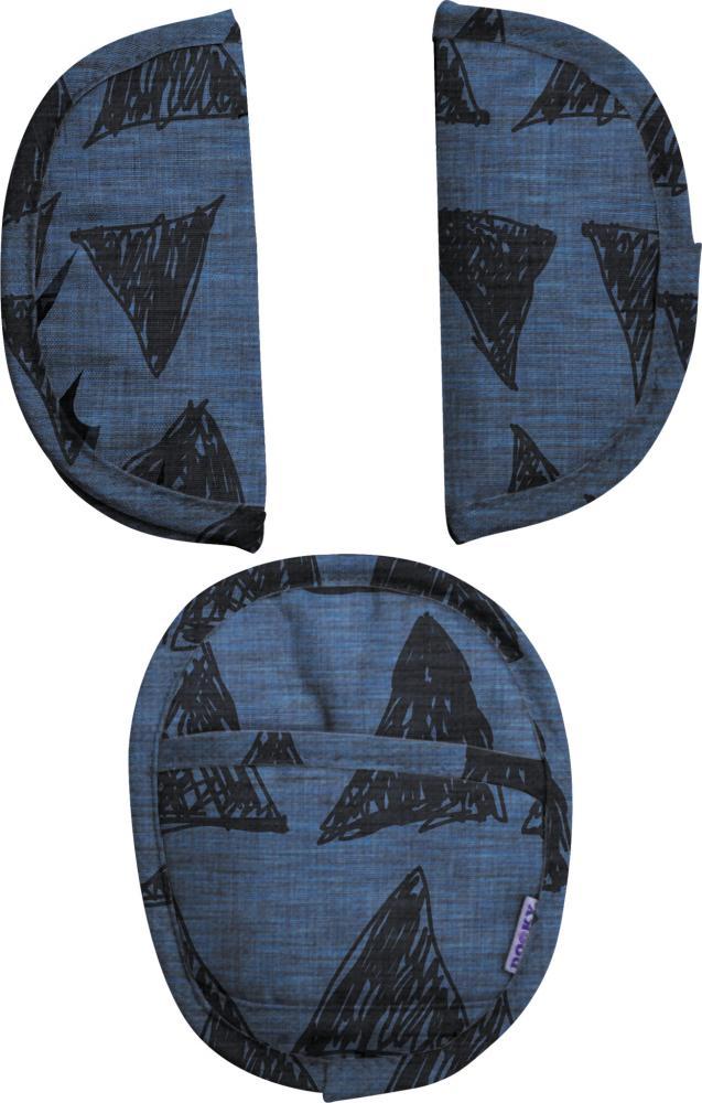 XPLORYS Комплект мягких накладок на ремни безопасности в автокресло Blue Tribal