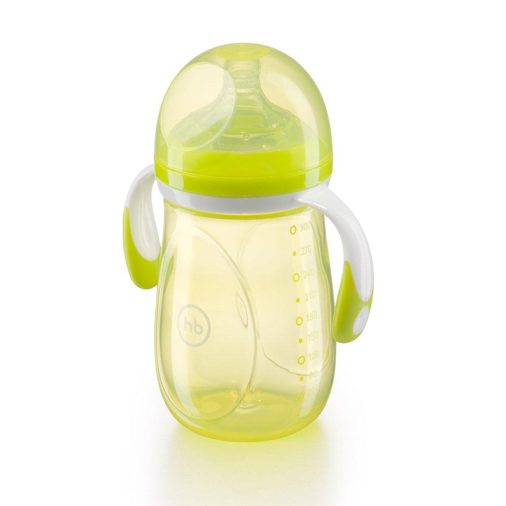 HAPPY BABY Бутылочка для кормления с ручками и  антиколиковой силиконовой соской 300 мл lime