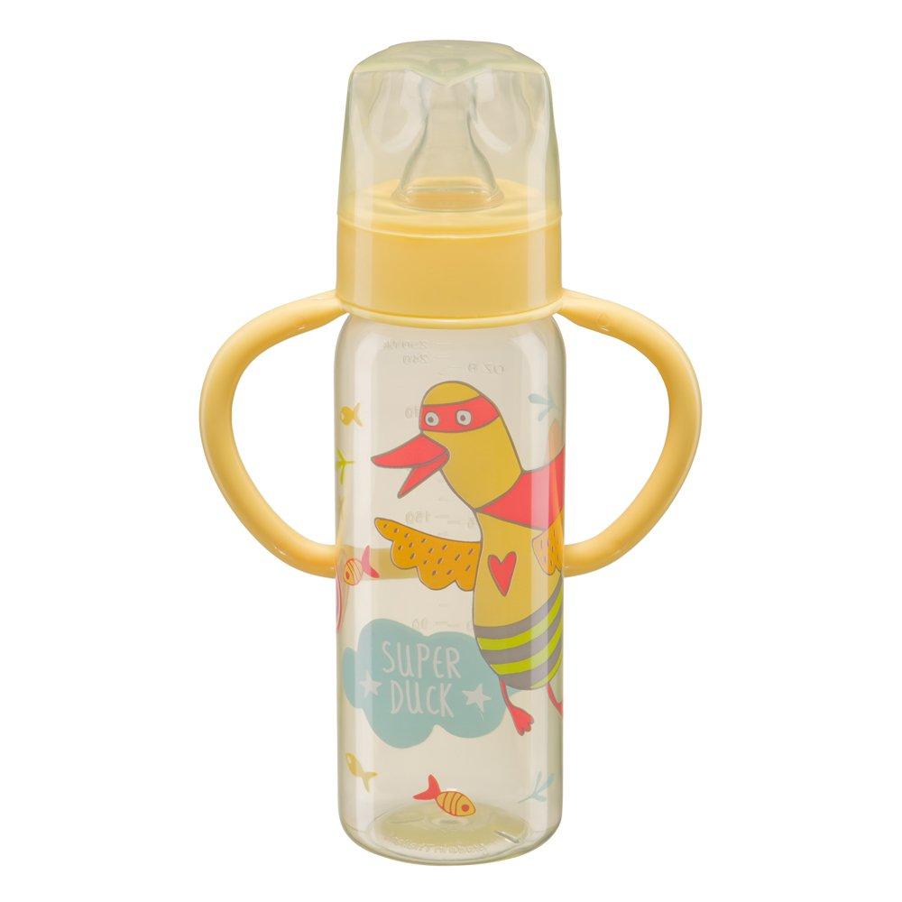 """HAPPY BABY Бутылочка  для кормления с ручками и силиконовой соской """"BABY BOTTLE"""" yellow"""