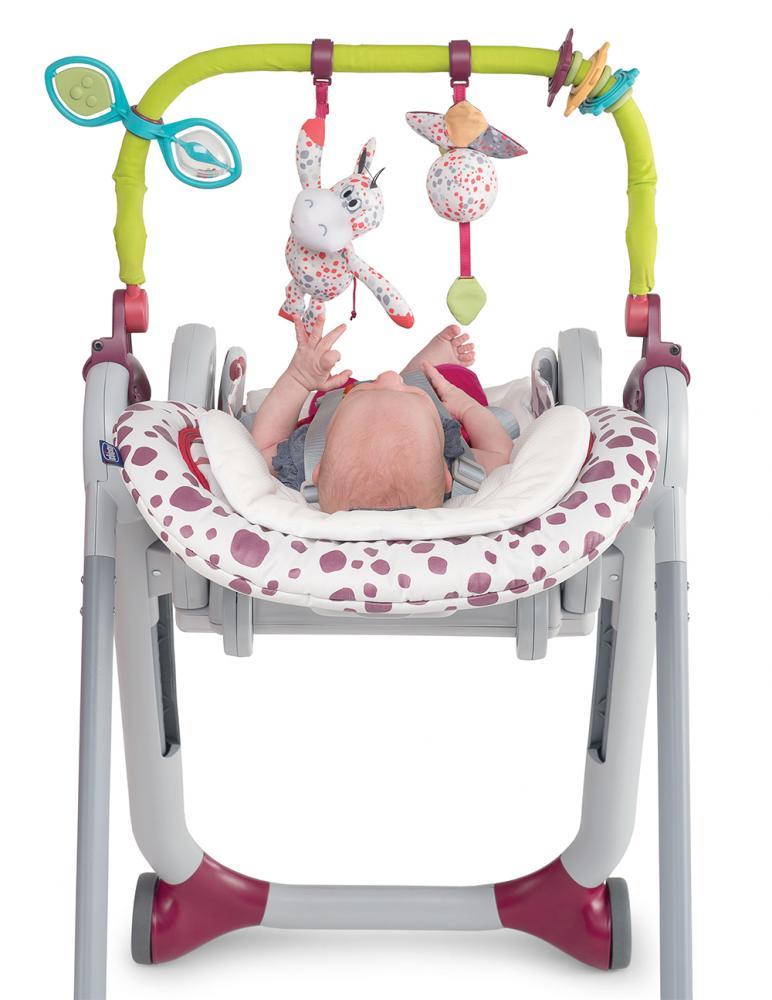 CHICCO Набор- дуга с игрушками и вкладыш для стульчика Polly Progres5