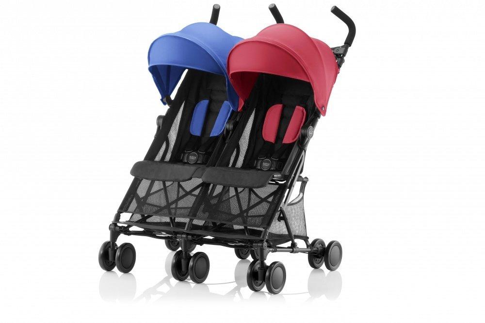 Britax прогулочная коляска для двойни holiday red/blue mix