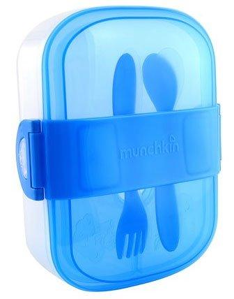 Munchkin контейнер с делениями для хранения питания с крышками, ложкой и  вилкой 9+ (MUNCHKIN)