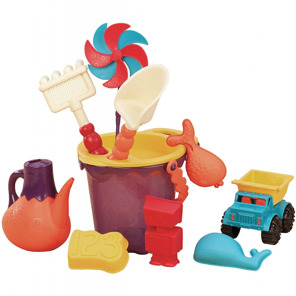Battat b.summer игровой набор для песка в пляжной сумке (красный)