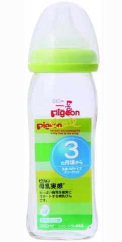 Pigeon бутылочка для кормления Перисталик Плюс с широким горлом, 240 мл, стекло 00313