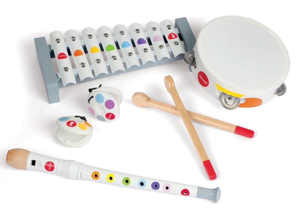 JANOD набор музыкальных инструментов,белый (металлофон, флейта, бубен, кастаньеты) (10113020/010915
