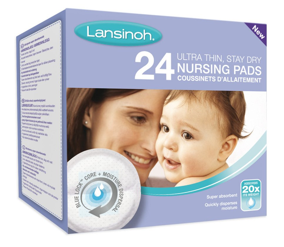 LANSINOH Blue Lock Disposable Nursing Pads вкладыши в бюстгалтер , 24 шт