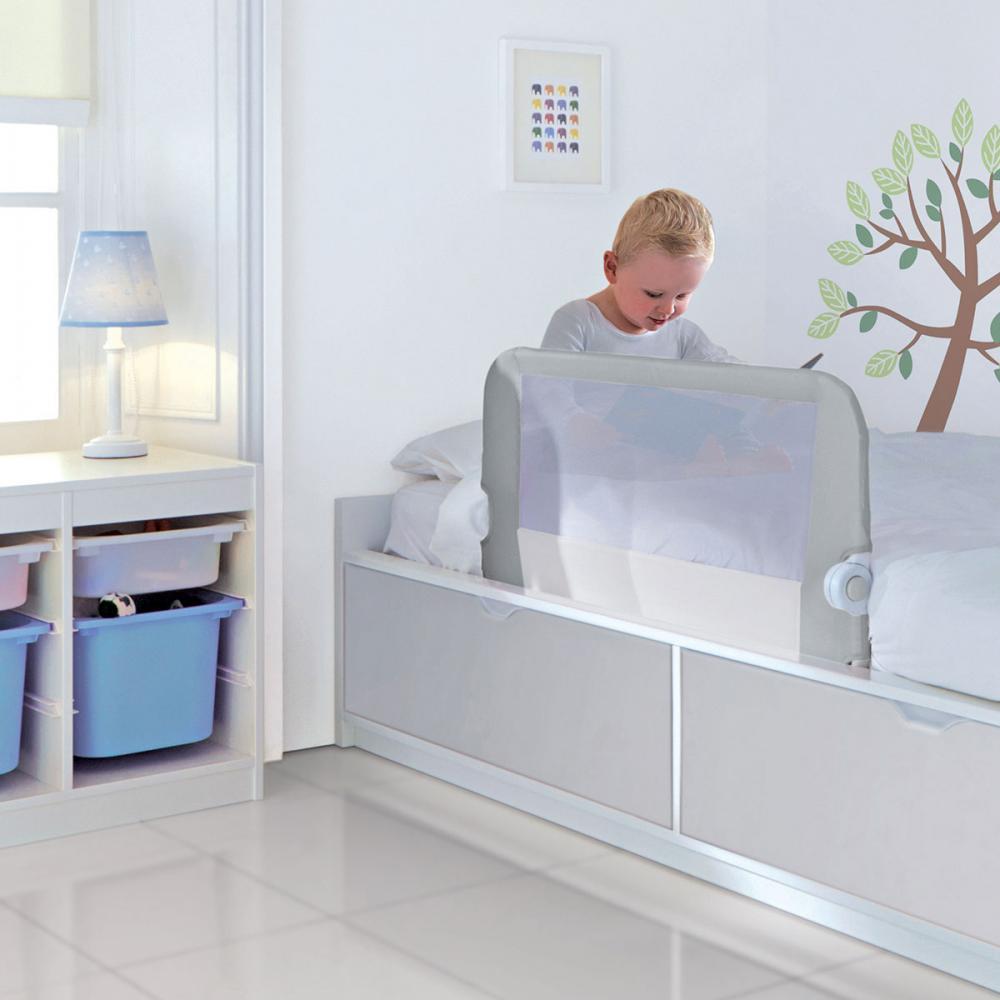 LINDAM бортик защитный для кровати на метал. каркасе с тканью 95 см серый
