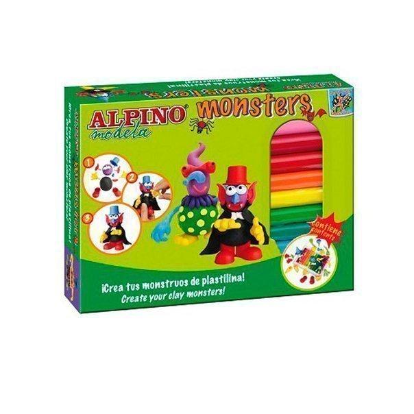 ALPINO набор пластилина Monsters (Ужастики), 12 цветов + 4 комплекта деталей