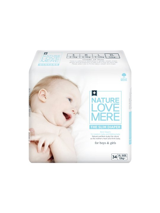 Nature Love Mere SLIM PREMIUM DIAPER подгузники XL от 12 кг, 34 шт.