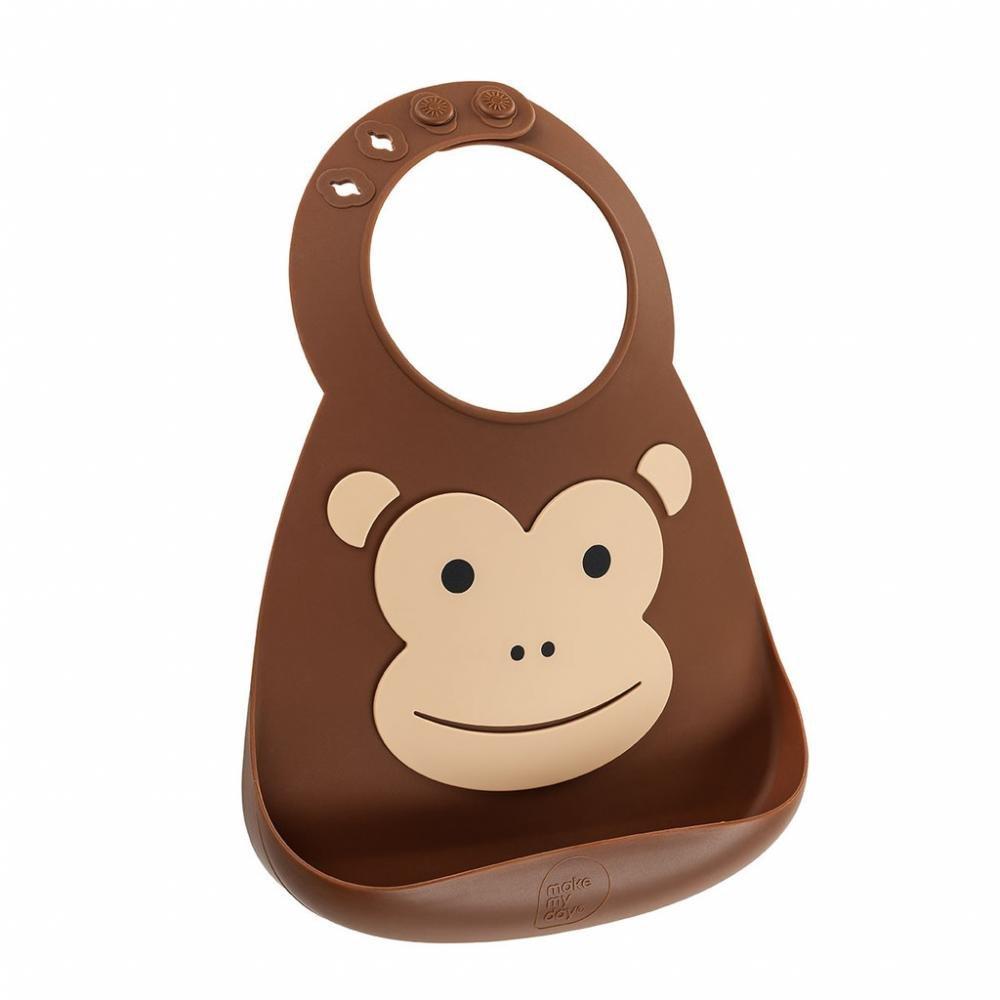 Make My Day Детский нагрудник, коричневый Monkey BB113