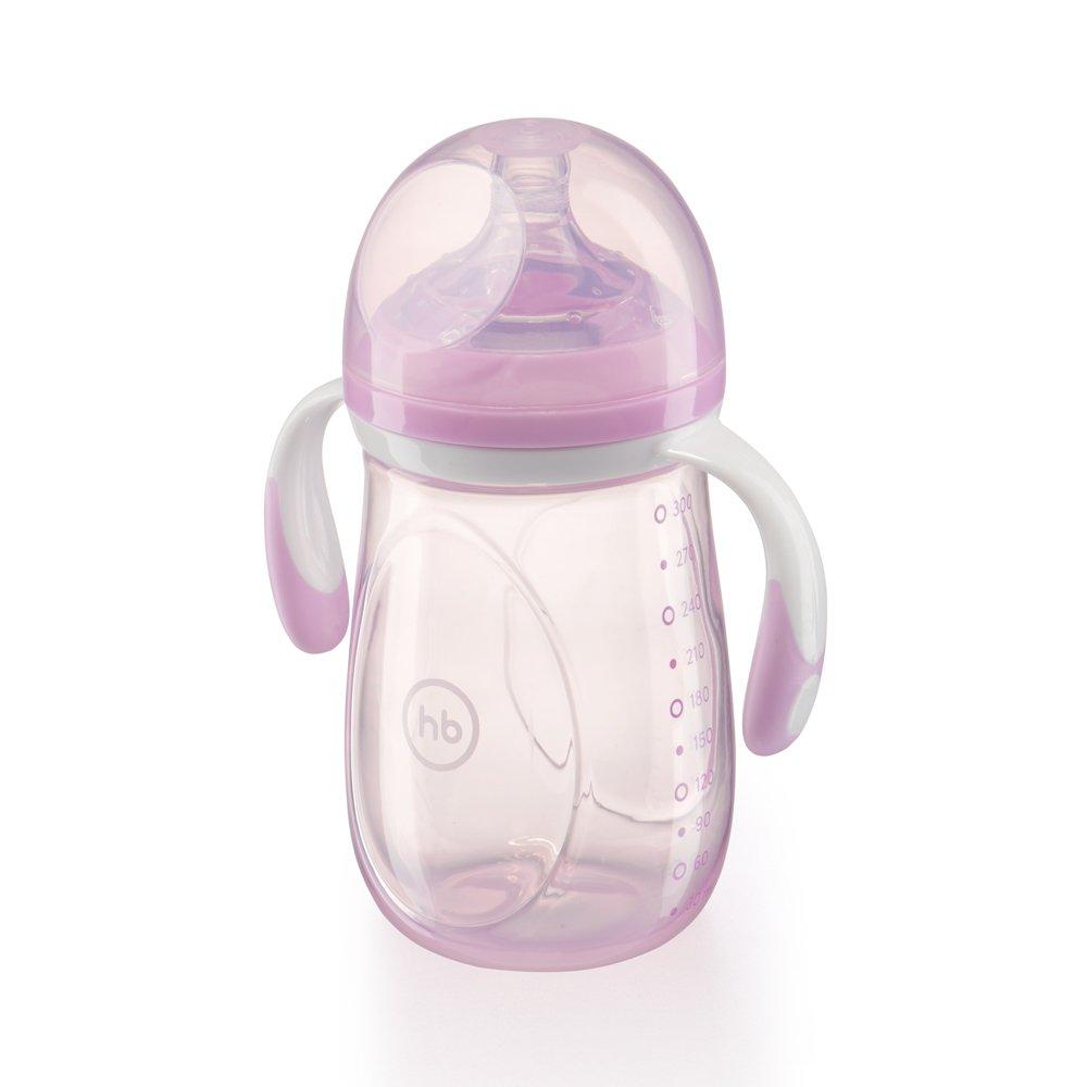 HAPPY BABY Бутылочка для кормления с ручками и  антиколиковой силиконовой соской 300 мл violet
