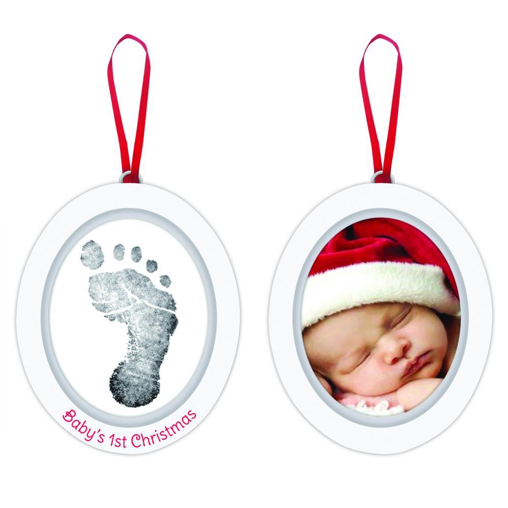 Pearhead подарок на ленточке пяточка-ладошка отпечаток + фото (белый)