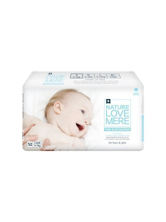 Nature Love Mere SLIM PREMIUM DIAPER подгузники S 4-7 кг, 52 шт.