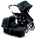 BUGABOO Коляска для двойни  2 в 1 Donkey + Twin BLACK/ DIESEL DENIM серебро шасси