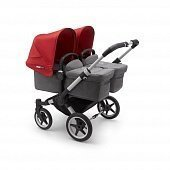 Bugaboo Donkey3 коляска 2 в 1 для двойни Twin Alu/Grey Melange/Red