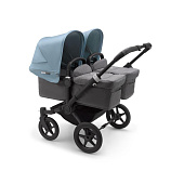 Bugaboo Donkey3 коляска 2 в 1 для двойни Twin Black/Grey Melange/Vapor Blue