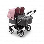 Bugaboo Donkey3 коляска 2 в 1 для двойни Twin Alu/Grey Melange/Soft Pink